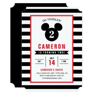 Anniversaire rayé noir et blanc d'icône de Mickey Carton D'invitation 12,7 Cm X 17,78 Cm