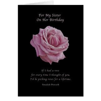 Anniversaire, soeur, rose de rose sur le noir carte