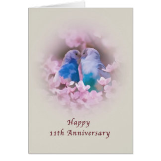 Anniversary, 11th, Loving Parakeets, Pink Flowers Card