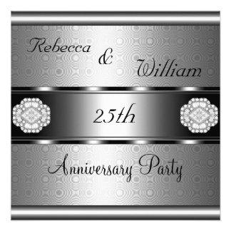 Anniversary 25th Elegant Roll Silver Party Invites