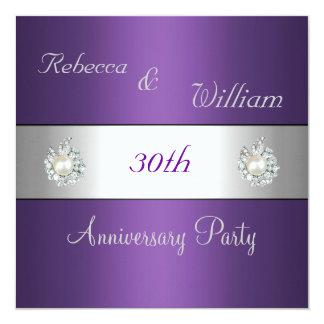 Anniversary 30th Elegant Purple & Pearl Jewel Card