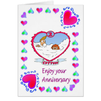Anniversary card - 2nd cotton