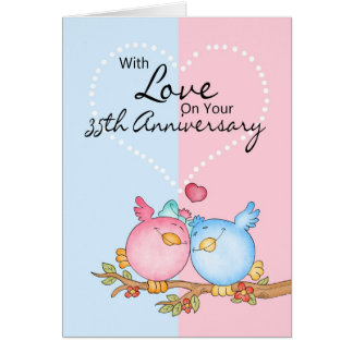 anniversary card - 35th anniversary love birds