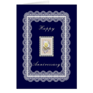 Anniversary Card, Dark Blue with White Rose & Lace Card