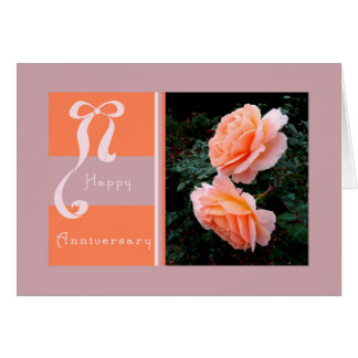 Anniversary Card with Peach Open Roses