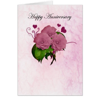 Anniversary card with pink roses and hearts