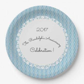 Anniversary-Celebration_Diamond-Threads_Blue_Lace 9 Inch Paper Plate