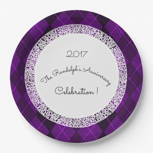 Anniversary-Celebration_Template(c)Purple-Jewel 9 Inch Paper Plate