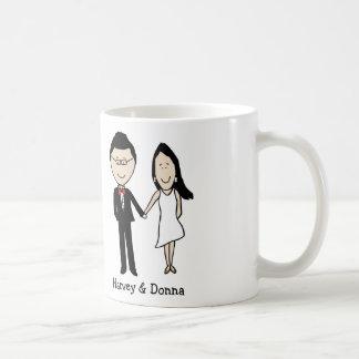Anniversary couple- personalized cartoon basic white mug