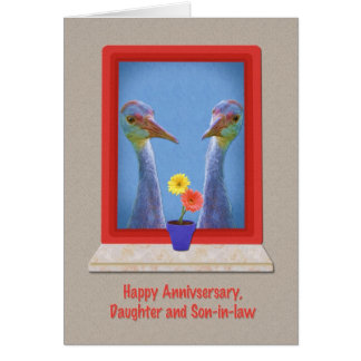 Anniversary, Daughter and Son-in-law, Crane Birds Greeting Card