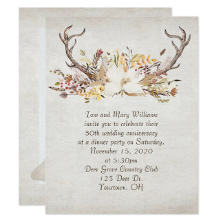 anniversary dinner-autumn bouquet and deer antlers card
