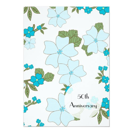Anniversary - Flowers, Leaves, Blossoms - Blue Card