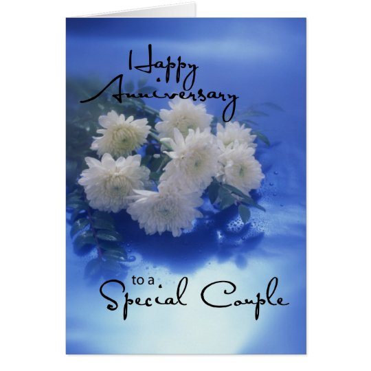 Anniversary Flowers on Blue Card