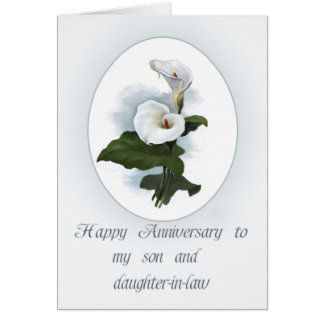 Anniversary for Son with Calla Lilies Greeting Card