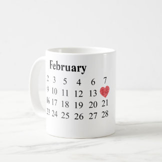 Anniversary Gift - Calendar & Engraved Rings Coffee Mug