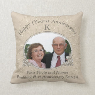 Anniversary Gift Ideas with PHOTO and YOUR TEXT Throw Pillow