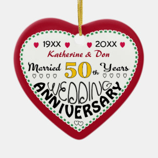 Anniversary Gifts 50th-Christmas Ceramic Heart Ornament
