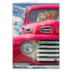 Anniversary-Golden Retrievers in vintage truck Card