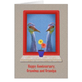 Anniversary, Grandparents,  Crane Birds Card