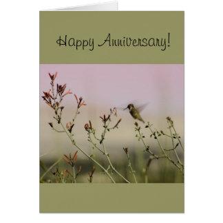 Anniversary Greeting Card with Hummingbird Design