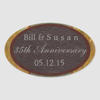 Anniversary leather and plaque label