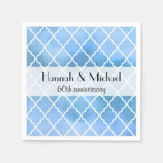 Anniversary - Moroccan Trellis, Watercolors - Blue Disposable Napkin