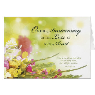Anniversary of Loss of Aunt, Death, Flowers, Green Greeting Card