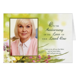 Anniversary of Loved One's Death, Custom Photo, Pe Greeting Card