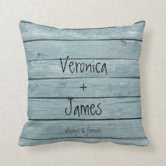 Anniversary or Wedding Pillow with Wood Background