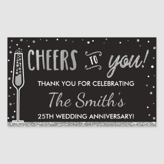 Anniversary Party Bottle Wrapper, Faux Silver Sticker