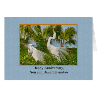 Anniversary, Son and Daughter-in-law, Great Egret Greeting Card