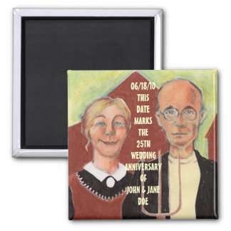 ANNIVERSARY SOUVENIR MAGNET AMERICAN GOTHIC IMAGE