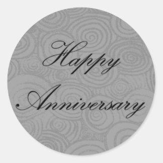 Anniversary Swirls Classic Round Sticker