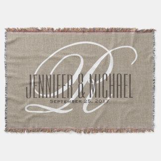 Anniversary / Wedding Monogram Vintage Rustic Throw Blanket