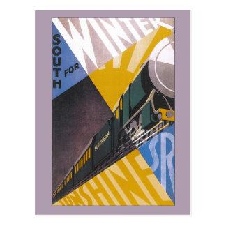 Annonce ferroviaire du sud de voyage d'art déco cartes postales