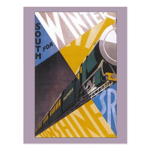 Annonce ferroviaire du sud de voyage d'art déco vi cartes postales