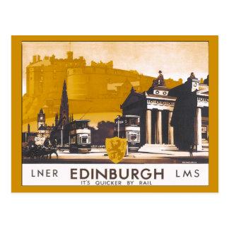 Annonce ferroviaire vintage de voyage d Edimbourg Carte Postale