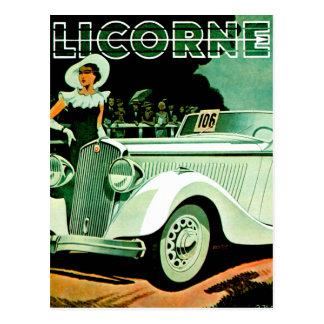 Annonce vintage d'automobile de ~ de Licorne de La Cartes Postales