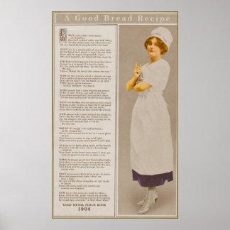 Annonce vintage de farine avec l'affiche de recett poster