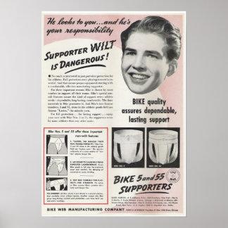 Annonce vintage de suspensoir poster