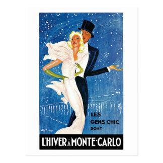 Annonce vintage de voyage d'hiver de Monte Carlo Carte Postale