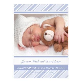 Annonces de naissance de bébé de rayures bleues bristol personnalisé
