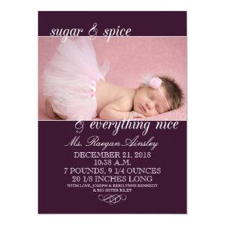 Annonces de naissance de photo de fille de sucre faire-part personnalisés