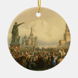 Announcement of Coronation Day by Vasily Timm 1856 Round Ceramic Ornament