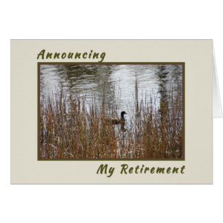 Announcing Retirement Card, Nature Pond with Duck Card
