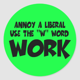 Annoy a liberal,work classic round sticker