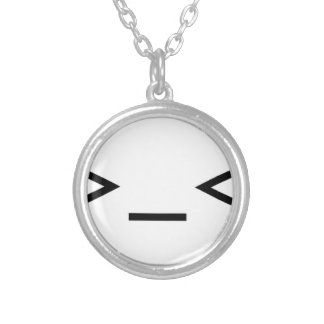 Annoyed / Troubled emoticon >_< Silver Plated Necklace
