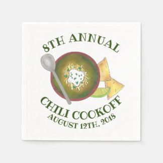 Annual Chili Cookoff Cook Off Bowl of Green Chili Paper Napkin