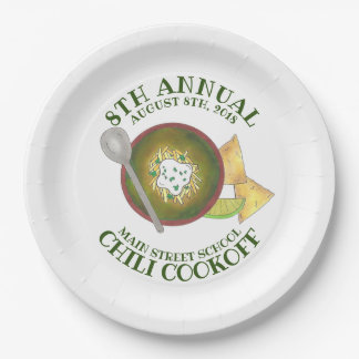 Annual Chili Cookoff Cook Off Bowl of Green Chili Paper Plate