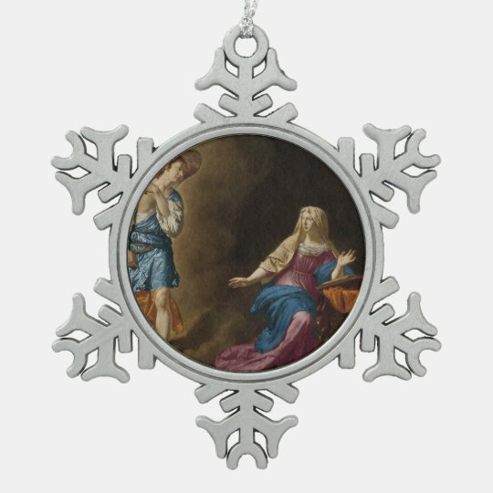 Annunciation Angel and Mary Pewter Snowflake Ornament